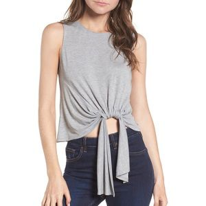 ASTR Light Gray Tie Waist Crop Tank
